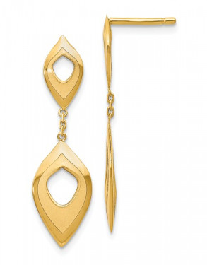 14k Yellow Gold Polished and Brushed Dangle Earrings