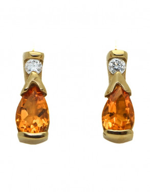 14k Yellow Gold Citrine and Diamond Stud Earrings