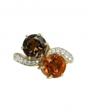 14k Yellow Gold Citrine and Smoky Quartz Ring